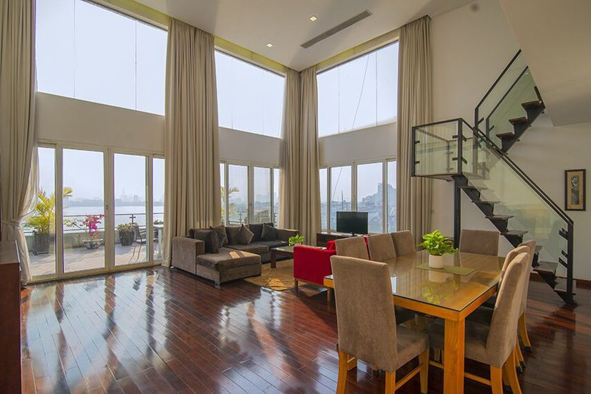 Fully furnished duplex apartment to rent in Tay Ho, Westlake view