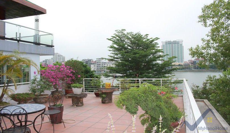 Huge lake view terrace 2 bedroom apartment in Tay Ho Hanoi