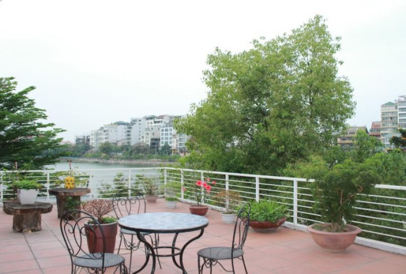 Huge lake view terrace 2 bedroom apartment in Tay Ho Hanoi