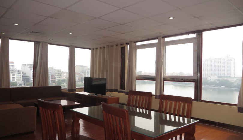 Lake view one bedroom apartment in Tay Ho on top floor