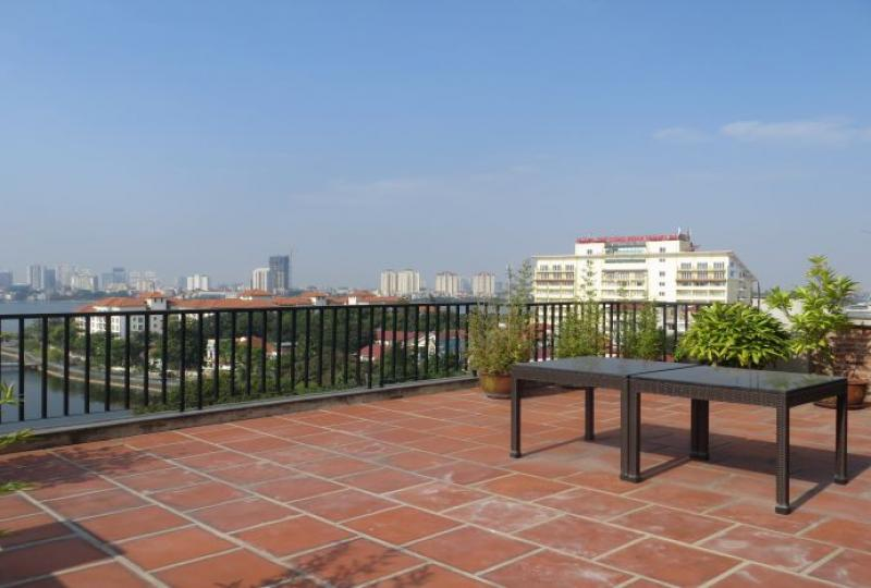 Lake view terrace 4 bedroom duplex apartment in Tay Ho Hanoi