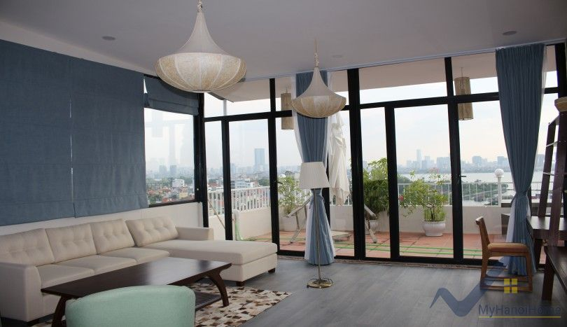 Lake view terrace three bedroom apartment in Tay Ho for rent