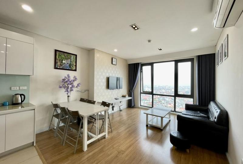 Mipec Riverside apartment for rent comes with 2 bedrooms furnished