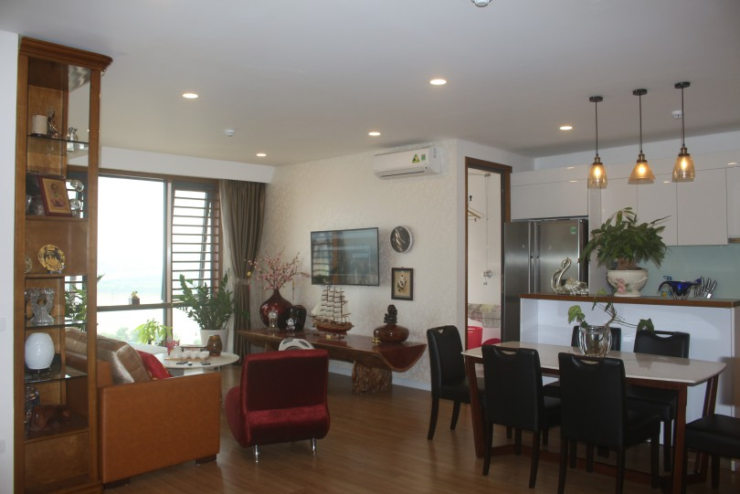 Modern three bedroom apartment in Mipec Riverside for rent furnished