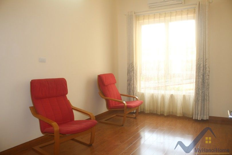 Partly furnished 4 bedroom house for rent in Tay Ho front yard