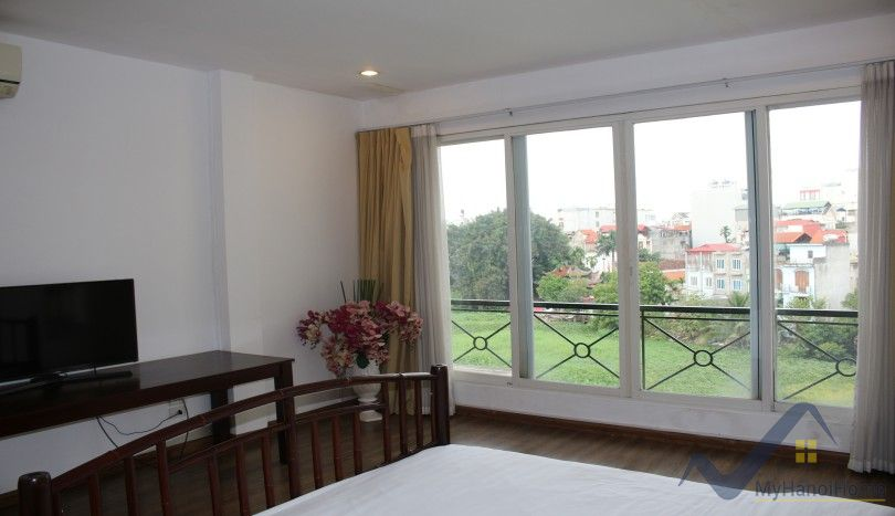 Westlake view balcony three bedroom apartment in Tay Ho Hanoi